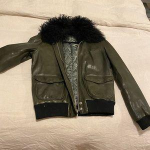 BLK denim olive green leather jacket